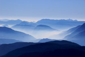 blue mountains in clouds